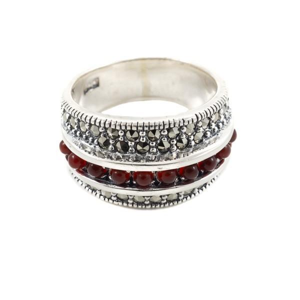 Sidabrinis žiedas su raudonuoju agatu RSA108 priekiu