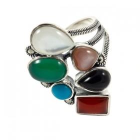 Sidabrinis žiedas su įvairiais akmenimis RSA158 priekiu
