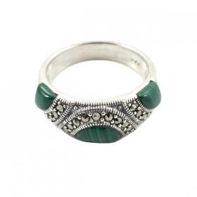 Sidabrinis žiedas su malachitu RSA146 priekiu