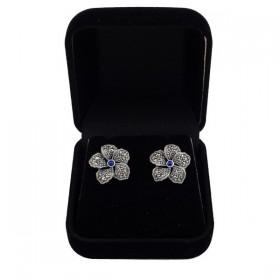 Sidabriniai auskarai gėlės žiedas ESA155 dėžutėje