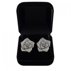 Sidabriniai auskarai gėlės žiedas ESA136 dėžutėje
