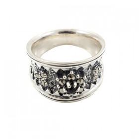 Sidabrinis žiedas su onikso akute RSA145 priekiu