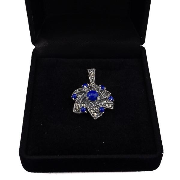 Sidabrinis pakabukas gėlės žiedas su lazuritu PSA151 dėžutėje