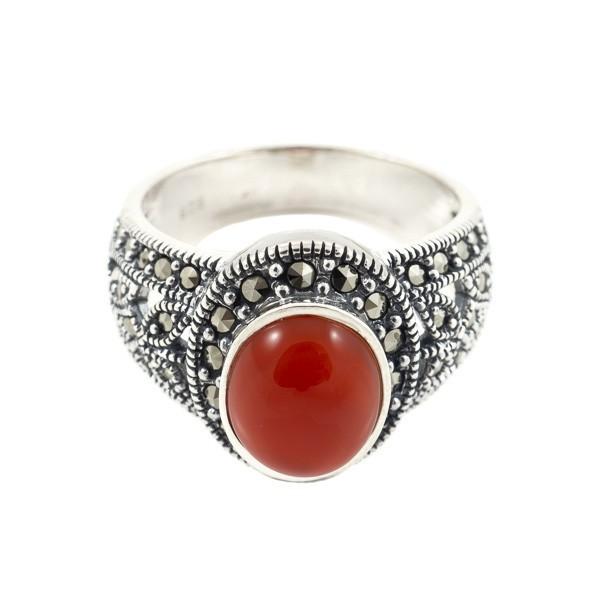 Sidabrinis žiedas su raudonuoju agatu RSA144 priekiu