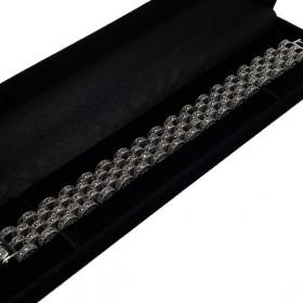 Prabangi sidabrinė apyrankė su markazitais BRSA109 dėžutėje kampu