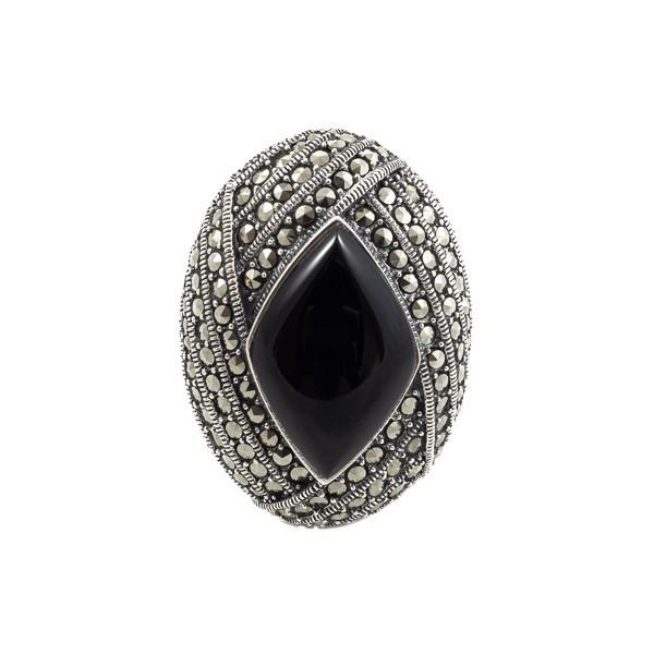 Didingas sidabrinis žiedas su oniksu RSA117 priekiu