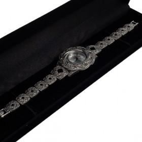 Sidabrinis  rožės žiedo formos laikrodis WSA108 dėžutėje kampu