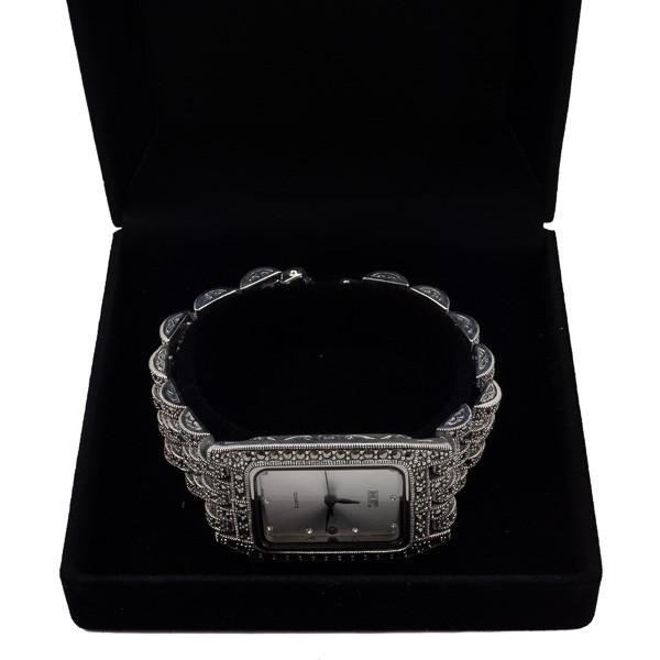 Sidabrinis laikrodis su markazitais WSA107 dėžutėje