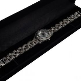 Sidabrinis laikrodis su markazitais WSA106 dėžutėje kampu