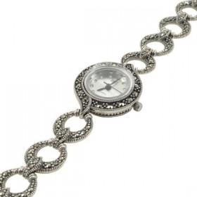 Sidabrinis laikrodis su žvilgančiais markazitais WSA103
