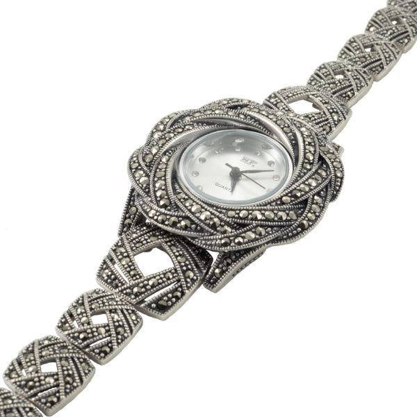 Sidabrinis rožės žiedo formos laikrodis WSA108